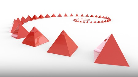 Many red pyramids in spriral form, 3d rendering