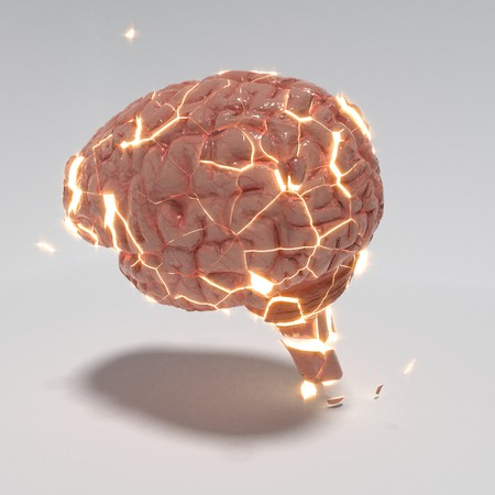 Abstract explotion of a brain, 3d rendering