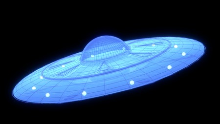 3d hologram of a UFO in the space, 3d rendering