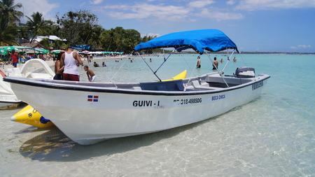 chica: Boat on Boca Chica Beach, Dominican Republic