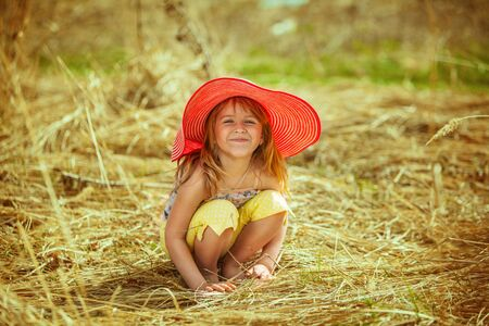 barn girls: beautiful girl smiles and happy