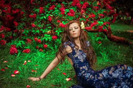 blessedness: Beautiful woman daydreaming and happy