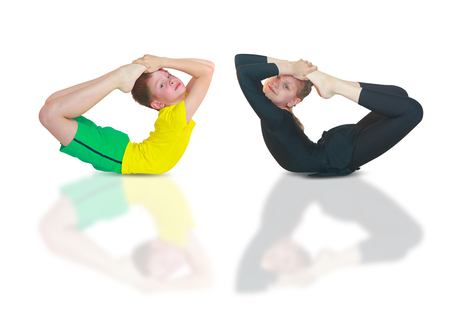 little girl doing yoga on white background