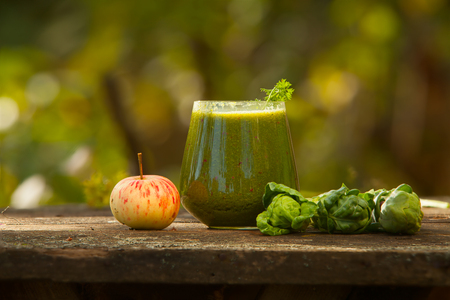 blender: delicious green smoothies from fresh verdure in a glass Stock Photo