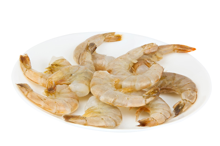 purified: delicious appetizing prawns on white plate on white background Stock Photo