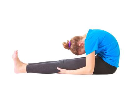 flexure: beautiful flexible woman doing yoguna white background