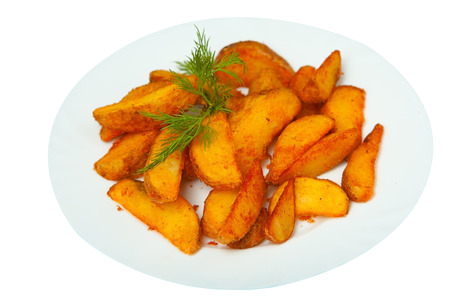 fried potatoes: delicious fried potatoes on a plate on a white background