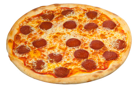 appetizing hot pepperoni pizza isolated on white background
