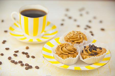 delicious hot black coffee in a beautiful mug