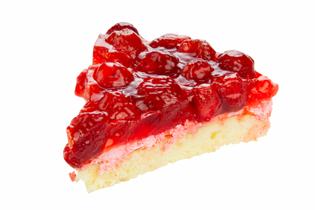 delicious cheesecake with strawberries on a white background
