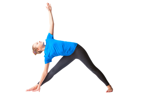 utthita: beautiful flexible woman doing yoguna white background