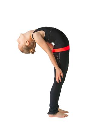 hasta: beautiful flexible woman doing yoguna white background