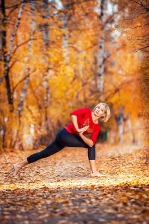 beautiful woman doing yoga outdoors On the  yellow grass
