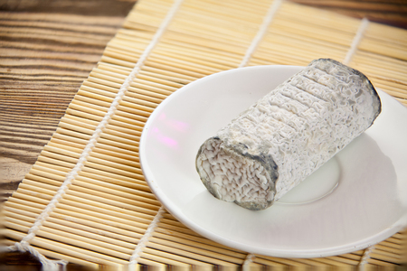 Fresh brie cheese with white mold on a white background on table Stock fotó - 91213969