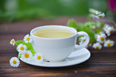 porcelain cup with green tea on a table