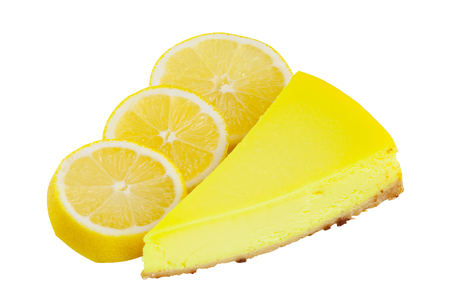 delicious cheesecake with lemon  on a white background