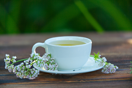 porcelain cup with green tea on a table Stock fotó