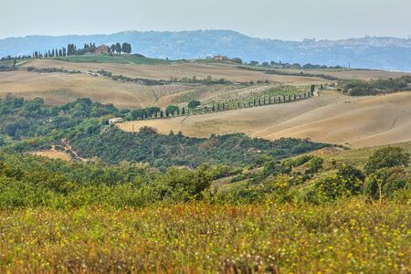 Natural landscape of hills tuscany in autumn in Italy