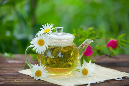 green tea with chamomile in beautiful cup Imagens