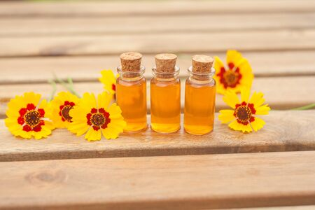 coreopsis essential oil in a beautiful bottle on the table Imagens