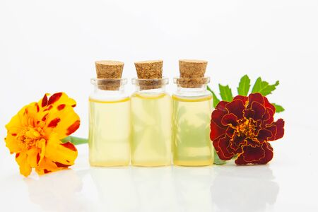 marigold essential oil in a beautiful bottle on the White background Imagens