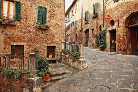Beautiful Italian street of a small old provincial town Stock Photo