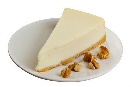 classic cheesecake on a white plate on a White background