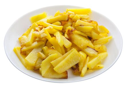 delicious fried potatoes on a plate on a white background