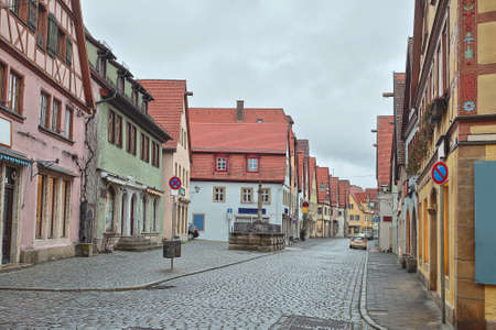Beautiful Deutsch street of a rothenburg ob der tauber