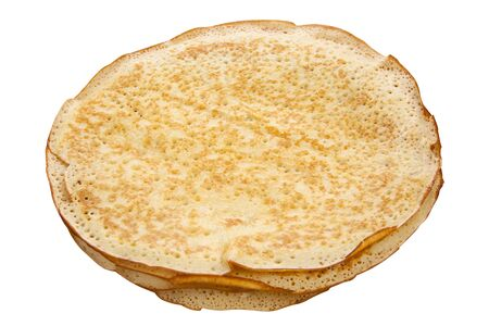 Plate with pancakes on thewhite background top view