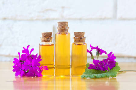 primrose essential oil in a beautiful bottle on the table