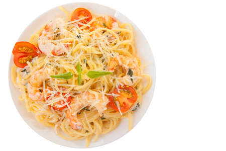 delicious Spaghetti pasta with prawns on a  plate Reklamní fotografie