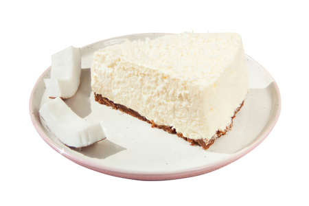 delicious cheesecake with coconut on a plate Banco de Imagens
