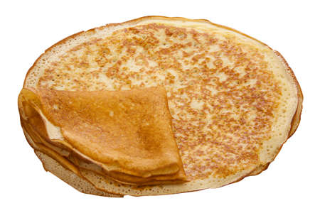 Plate with pancakes on white background top view