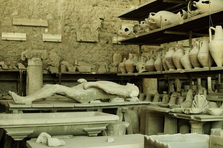 hostile: Plaster corpse in Pompeii Stock Photo