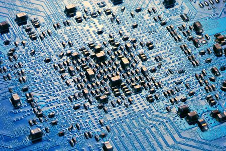 semiconductor components on a blue background photo