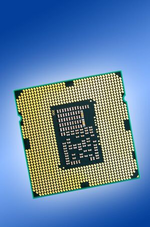 microprocessor: central microprocessor with gold contacts Stock Photo