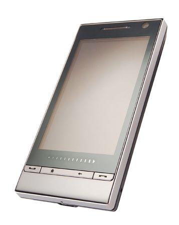 fashionable mobile phone on white background photo