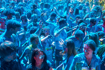 Ukraine, Kiev, June 10, 2018 was the fifth, anniversary Kyiv Color Run, which gathered more than 3000 people.