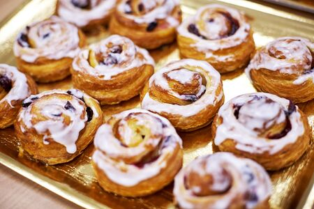 sweet cakes with raisins and cranberries sprinkled with white icing 免版税图像