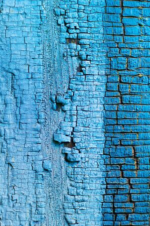the texture of the old blue paint is cracked 免版税图像