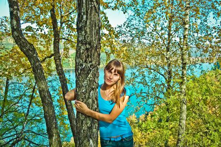 the girl next to a birch