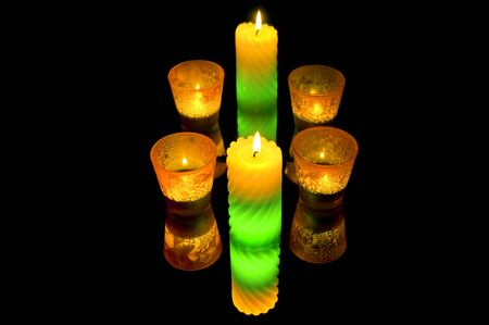 Colorful candles. Isolate. Stock Photo