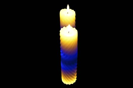 Color candle. reflection