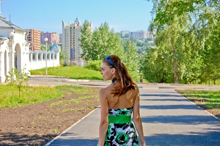A girl on a sunny day. Bright colors. The summer.