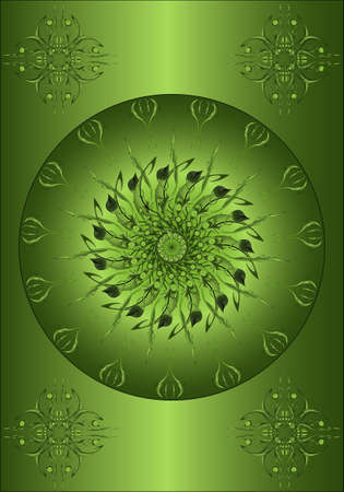 Abstract pattern on a green gradient background Vector