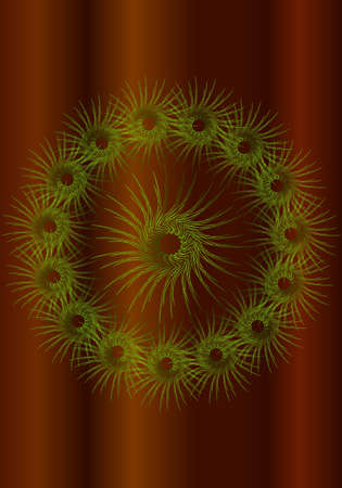 Green abstract pattern on a circle on gradient background Illustration