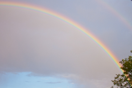 colorful rainbow in the summer evening sky 스톡 콘텐츠