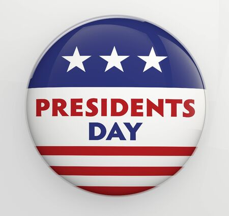 presidents day: Presidents Day button badge with clipping path for easy selection