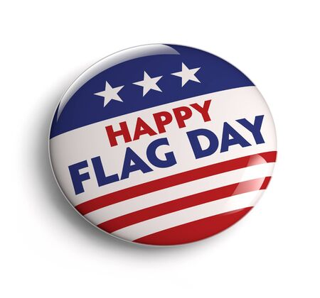 Happy USA Flag Day button badge  Clipping path included for easy selection  Stock Photo